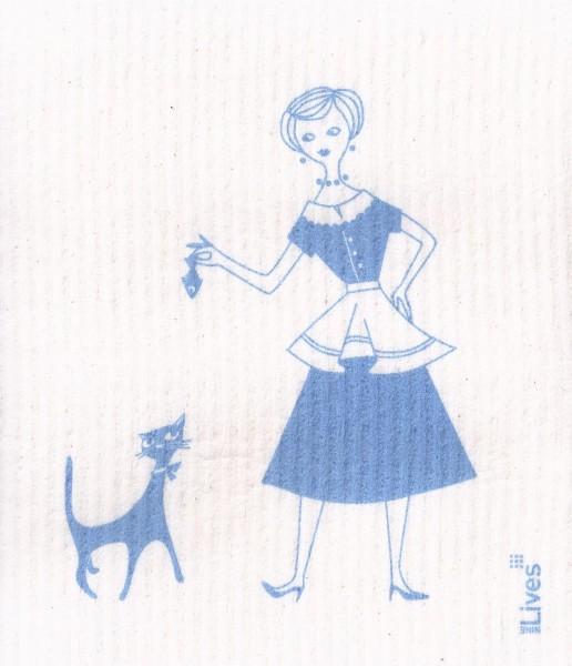 Schwammtuch Frau und Katze