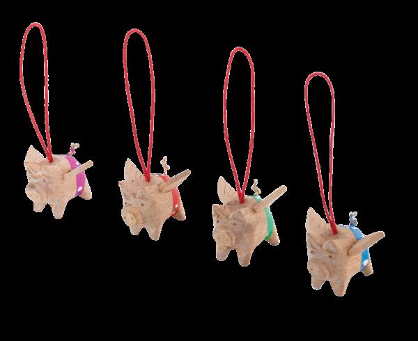 Holzschwein mit Flügel 4er-Set