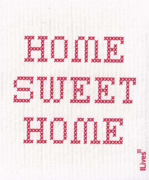 Schwammtuch Home sweet Home, rot