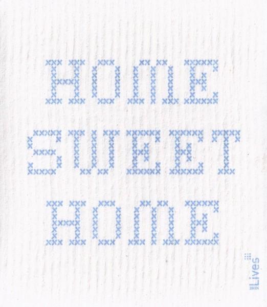 Schwammtuch Home sweet Home, blau
